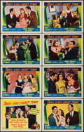 """Movie Posters:Comedy, Three Girls About Town (Columbia, 1941). Lobby Card Set of 8 (11"""" X 14""""). Comedy.. ... (Total: 8 Items)"""