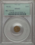 California Fractional Gold , 1870 50C Liberty Round 50 Cents, BG-1010, R.3, MS60 PCGS. PCGSPopulation (3/139). NGC Census: (0/47). ...