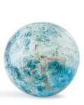 Lapidary Art:Eggs and Spheres, Blue Apatite Sphere. Madagascar. 5.5 inches (14 cm) indiameter. ...
