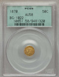 California Fractional Gold , 1870 50C Liberty Round 50 Cents, BG-1022, High R.6, AU58 PCGS. PCGSPopulation (5/7). NGC Census: (0/2). ...
