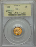 Commemorative Gold, 1922 G$1 Grant Gold Dollar, With Star, MS64 PCGS....
