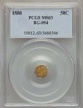 California Fractional Gold , 1880 50C Indian Octagonal 50 Cents, BG-954, Low R.4, MS63 PCGS.PCGS Population (29/51). NGC Census: (3/4). ...