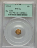 California Fractional Gold , 1856 25C Liberty Octagonal 25 Cents, BG-107, Low R.4, MS63 PCGS.PCGS Population (45/31). NGC Census: (1/17). ...