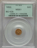 California Fractional Gold , 1853 50C Liberty Round 50 Cents, BG-428, R.3, MS61 PCGS. PCGSPopulation (31/119). NGC Census: (19/41). ...