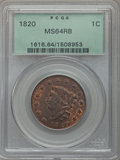 1820 1C Large Date, N-13, R.1, MS64 Red and Brown PCGS....(PCGS# 36674)