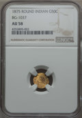 California Fractional Gold , 1875 50C Indian Round 50 Cents, BG-1037, R.4, AU58 NGC. NGC Census:(2/9). PCGS Population (12/49). ...