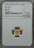 California Fractional Gold , 1870 50C Liberty Round 50 Cents, BG-1010, R.3, MS64 NGC. NGCCensus: (14/10). PCGS Population (43/25). ...