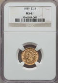 Liberty Quarter Eagles: , 1889 $2 1/2 MS61 NGC. NGC Census: (107/223). PCGS Population (40/209). Mintage: 17,648. ...