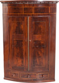 Furniture : English, An English Mahogany and Satinwood Veneered Hanging Cabinet, 19th century. 49-1/2 h x 35 w x 20-1/2 d inches (125.7 x 88.9 x ...