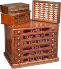 Furniture : American, Four Oak Sewing and Needle Display Cases and Cabinets: C L Turney's, Belding Heminway, Blood's Needles, John Clark Cotto... (Total: 4 Items)