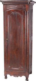 Furniture : French, A French Walnut Bonnetiere Cabinet, 19th century. 86 h x 33-1/2 w x29 d inches (218.4 x 85.1 x 73.7 cm). PROPERTY FROM A ...