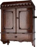 Furniture : English, A Diminutive Victorian Carved Oak Hanging Cabinet, late 19th-early 20th century. 19-1/2 h x 14 w x 7 d inches (49.5 x 35.6 x...