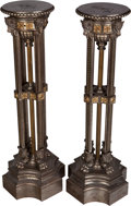 Furniture : French, A Pair of Empire-Style Partial Gilt and Silvered Metal Pedestals,20th century. 52 inches high (132.1 cm). ... (Total: 2 Items)