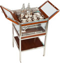 Furniture : Continental, An Art Deco Mahogany and Chrome Mechanical Tantalus withSilver-Plated and Cut-Glass Accoutrements, circa 1935. 31-3/4 h x1... (Total: 24 Items)