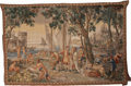 Decorative Arts, Continental:Other , A Continental Allegorical Tapestry: Tropical Port TradeScene, early-mid 19th century. Marks: DH. 59-3/8 inches...