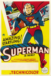 "Superman Cartoon Stock (Paramount, 1941). One Sheet (27"" X 41"")"