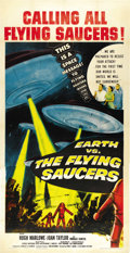 """Movie Posters:Science Fiction, Earth vs. the Flying Saucers (Columbia, 1956). Three Sheet (41"""" X 81""""). ..."""