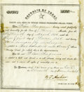 """Autographs:Military Figures, [Republic of Texas Land Bounty Document] Partly-printed Document Signed """"B T. Archer"""" as Secretary of War and Navy..."""