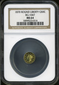 California Fractional Gold: , 1870 50C Goofy Head Round 50 Cents, BG-1047, High R.4, MS64 NGC....