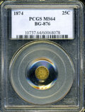 California Fractional Gold: , 1874 25C Indian Round 25 Cents, BG-876, Low R.4, MS64 PCGS. ...