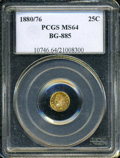 California Fractional Gold: , 1880/76 25C Indian Round 25 Cents, BG-885, R.3, MS64 PCGS. ...