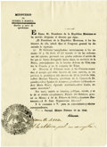 """Autographs:Non-American, [Texas Revolution] Printed Document Signed """"Almonte"""" in print...."""