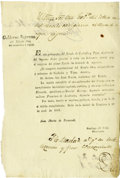 "Autographs:Non-American, Manuel Ximenes Partly-printed Document Signed ""ManuelXimenes"" as Governor of Coahuila and Texas...."