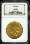 Liberty Double Eagles: , 1860 $20 AU58 NGC. An tough issue in higher grades, this examplesports lovely dark-golden surfaces, with light wear but fe...
