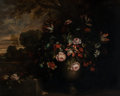 Fine Art - Painting, European:Antique  (Pre 1900), Manner of Jean-Baptiste Monnoyer . Floral Still Life in aLandscape. Oil on canvas. 38 x 46 inches (96.5 x 116.8 cm). ...