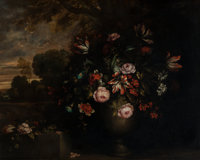 Manner of Jean-Baptiste Monnoyer Floral Still Life in a Landscape Oil on canvas 38 x 46 inches (