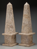 Decorative Arts, Continental, A Pair of Marble Obelisks, 20th century. 28 inches high (71.1 cm).PROPERTY FROM THE ESTATE OF RICHARD D. BASS, DALLAS, TX... (Total:2 Items)