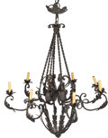 Decorative Arts, French:Lamps & Lighting, A Wrought Iron Eight-Light Chandelier, early 20th century. 44inches high x 37 inches diameter (111.8 x 94.0 cm). PROPERTY...