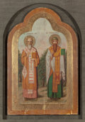 Paintings, Russian School (19th/20th Century). Large Russian Icon with Two Figures. Tempera and gesso on panel. 37 x 24 inches (94 ...