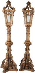 Decorative Arts, Continental:Lamps & Lighting, A Large Pair of Venetian Polychrome and Parcel Gilt Torchiere withEtched Glass Panes, early 20th century. 109 inches high (...(Total: 2 Items)