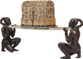 Asian:Other, A Southeast Asian Semi-Precious Stone Inlaid Bone Chest on Standwith Bronze Figural Supports. 52 h x 85 w x 19 d inches (13...(Total: 4 Items)