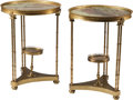 Furniture : French, A Pair of French Neoclassical-Style Gilt Bronze and VariegatedMarble Gueridons, 20th century. 27-1/2 h x 20-1/2 d inches (6...(Total: 2 Items)