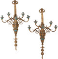 Decorative Arts, French:Lamps & Lighting, A Large Pair of French Gilt Bronze and Champlevé Five-Light WallSconces, 20th century. 42 h x 24 w x 10-1/2 d inches (106.7...(Total: 2 Items)
