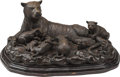 Bronze:European, Continental School (20th Century). Tiger Family. Bronze with brown patina on wood base. 17-1/2 inches (44.5 cm) high. ...