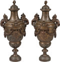 Sculpture, A Pair of Large Renaissance Revival Patinated Bronze Cassolettes, late 19th century. 30 h x 14 w x 11 d inches (76.2 x 35.6 ... (Total: 2 Items)