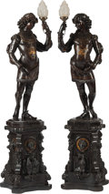 Decorative Arts, Continental:Lamps & Lighting, A Pair of Venetian Partial Giltwood Page Boys on Stands Mounted asTorchieres, late 19th century and later. 77 h x 18 w x 18...(Total: 2 Items)