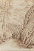 Fine Art - Work on Paper:Drawing, George Gilbert Scott (British, 1811-1878). Landscape ofGlenredding, Ulleswater, 1863. Ink on paper . 9-3/4 x 6-1/2inch...