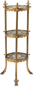 Furniture : Continental, A Gilt Bronze Three-Tier Side Table with Specimen and Micro MosaicTops, 19th century and later. 41-1/2 h x 14 d inches (105...