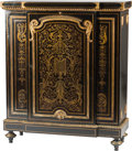 Furniture : French, A Napoleon III Boulle and Ebonized Wood Cabinet with Gilt BronzeMounts, 19th century. 49 h x 42 w x 17 d inches (124.5 x 10...(Total: 2 Items)