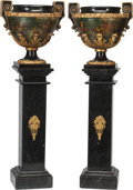 Decorative Arts, Continental:Other , A Pair of Continental Marble Inlaid and Painted Planters on BlackMarble Pedestals, late 19th century and later. 61-3/4 inch...(Total: 4 Items)