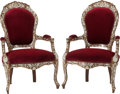 Furniture : Continental, A Pair of Moorish Upholstered Armchairs with Mother-of-Pearl Inlay,20th century. 43-3/8 h x 28-1/2 w x 22 d inches (110.2 x... (Total:2 Items)