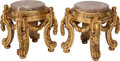 Furniture : French, A Pair of Louis XIV-Style Carved Giltwood Pedestals with MarbleTops, 20th century. 17-1/2 h x 16 d inches (44.5 x 40.6 cm)...(Total: 4 Items)