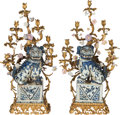 Decorative Arts, Continental:Lamps & Lighting, A Pair of Louis XV-Style Figural Gilt Bronze and PorcelainSeven-Light Lamps, 20th century. 41 inches high (104.1 cm). ...(Total: 2 Items)