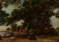 Fine Art - Painting, American:Antique  (Pre 1900), W. Allen Cay (American, 19th Century). Homoko, Japan. Oil oncanvas. 16 x 22 inches (40.6 x 55.9 cm). Signed and titled ...