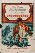 "Movie Posters:Adventure, Unconquered & Other Lot (Paramount, R-1955). One Sheet (27"" X41""), Lobby Cards (3) (11"" X 14""), & Three Sheet (41"" X 79"").... (Total: 5 Items)"