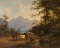 Fine Art - Painting, European:Antique  (Pre 1900), Gustav Meissner (German, 1830-1930). Mountain landscape with hay wagon and farmers. Oil on canvas. 16-3/4 x 20-1/2 inche...